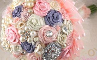 Свадебный букет из атласных лент своими руками – прекрасный аксессуар для невесты