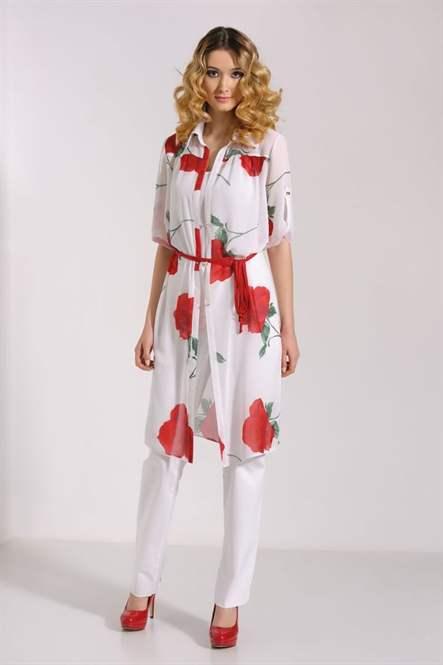 Платье-рубашка с брюками