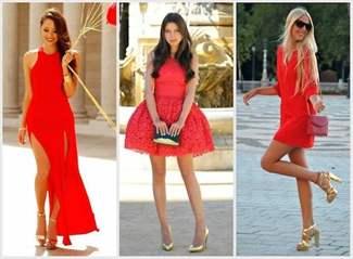 Красное платье и золотые туфли