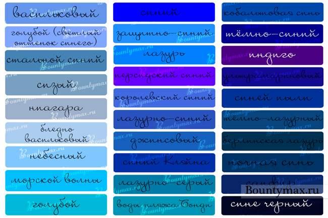 Разные цвета синего