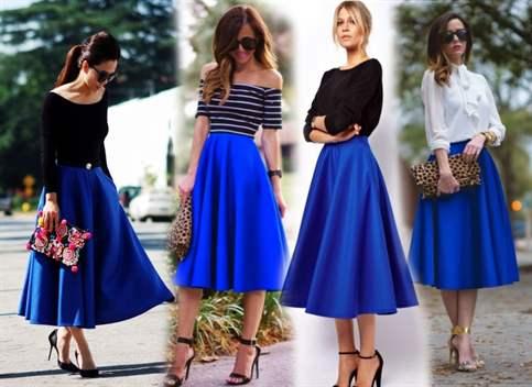 Под что можно одеть синюю юбку