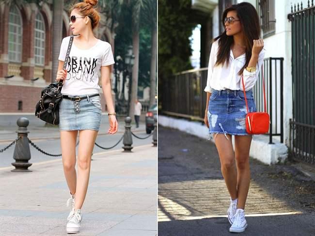 Джинсовые юбки короткие с чем носить фото
