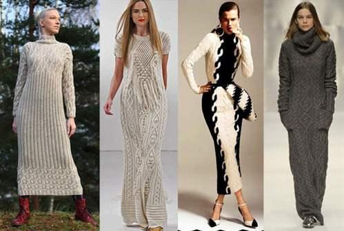 Стильное вязаное платья