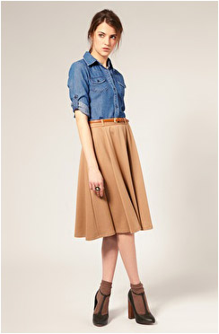 С чем носить юбку миди коричневую