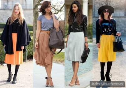 С чем носить юбку-плиссе ниже колена: фото стильных луков и