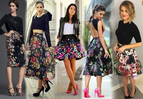 С чем носить юбку с крупными цветами