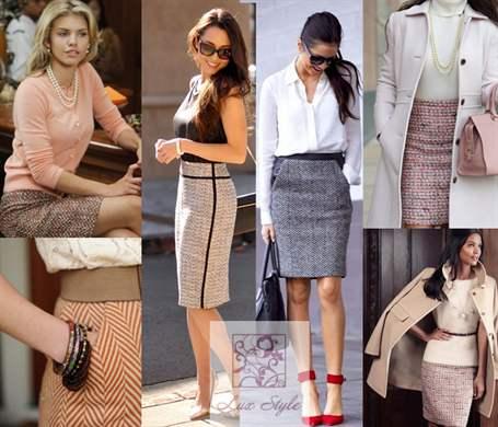 Что носить с твидовой юбкой
