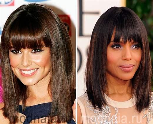 Модные прически на средние волосы с челкой женские