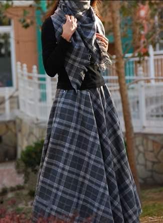 Клетчатая юбка длинная с чем носить