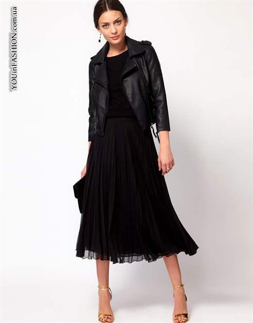 Плиссированная черная юбка купить