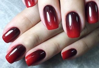 Черно красное омбре на ногтях