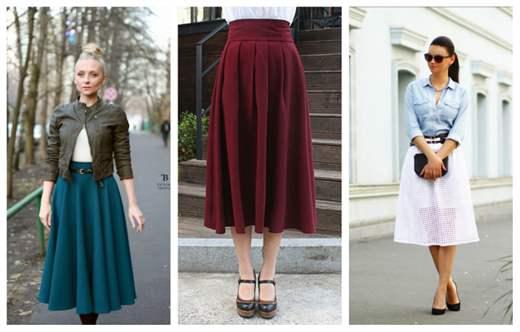 Длина юбки ниже колена с чем носить