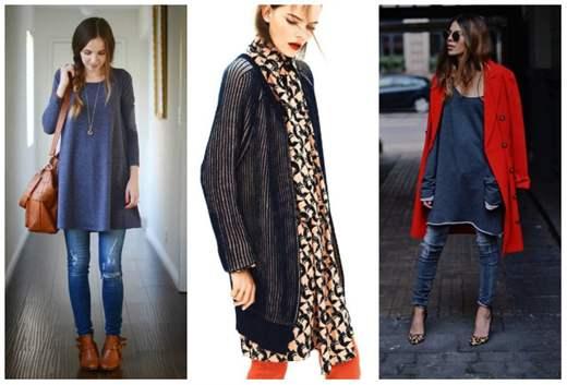 Платье туника с джинсами