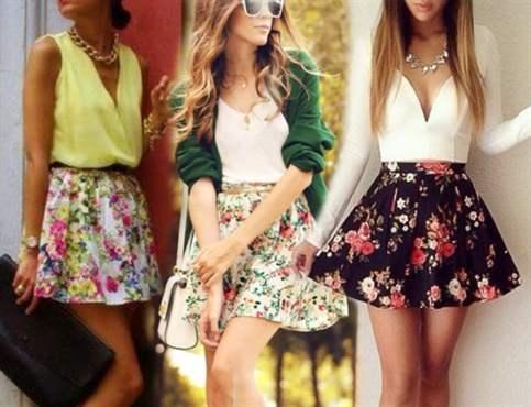 С чем надеть юбку в цветочек