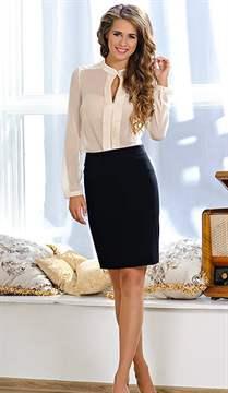 С чем носить черную прямую юбку до колена