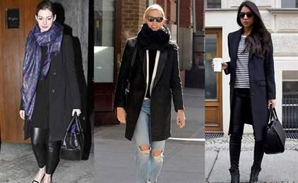 Чёрное женское пальто с чем носить женское