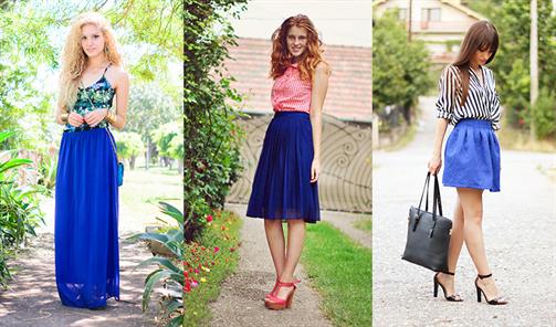 С чем одеть синюю длинную юбку фото