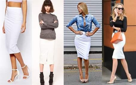 Голубая рубашка и белая юбка