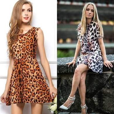 Модное леопардовое платье