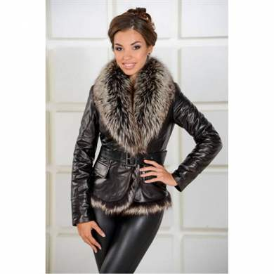 Зимняя кожаная куртка женская с мехом