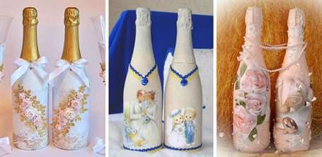 Шампанское на свадьбу декупаж