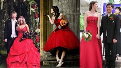 Невеста в красном платье фото свадьба