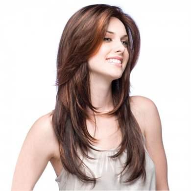 Застывший каскад на средние волосы