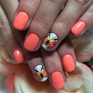 Дизайн ногтей гель лаком бабочки