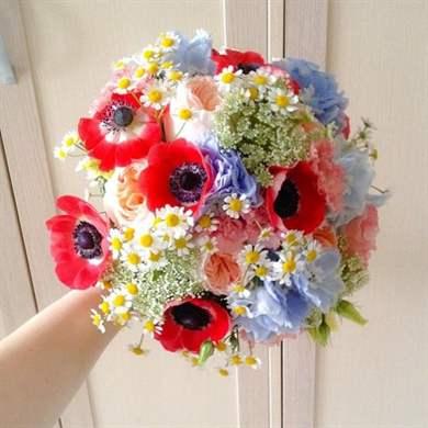 Как сделать букет невесты из искусственных цветов фото 688