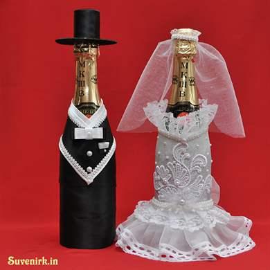 Как сделать на бутылку шампанского на свадьбу