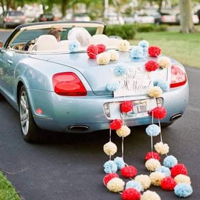 Идеи для украшения машины для свадьбы