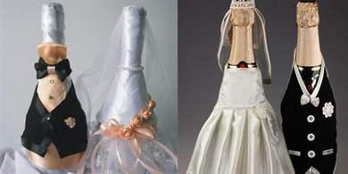 Украсить бутылку шампанского на свадьбу своими руками видео