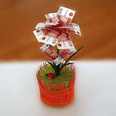 Необычный подарок из денежных купюр