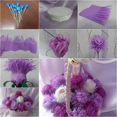Цветы из гофрированной бумаги с