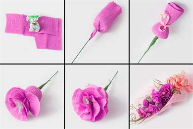 Простые цветы из гофрированной бумаги с конфетами своими руками 355