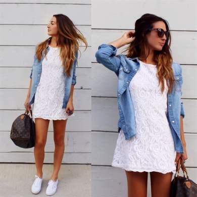 Модные луки с джинсовой рубашкой