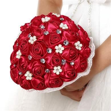 Свадебный букет своими руками из красных роз