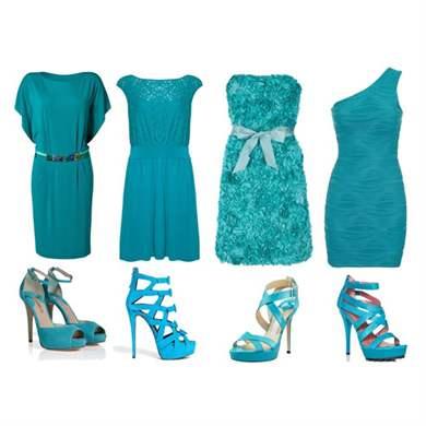 Обувь к бирюзовому платью