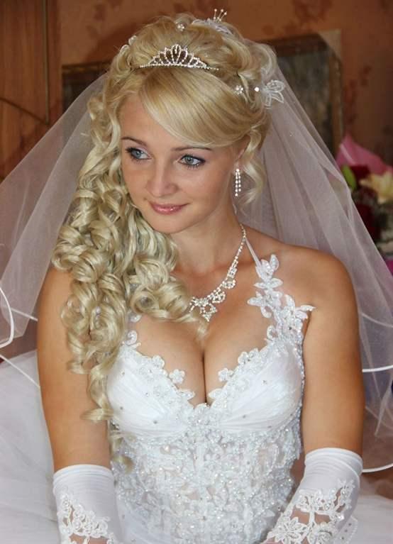 Объемные свадебные прически с фатой фото