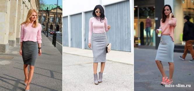 С чем одеть серую юбку длинную