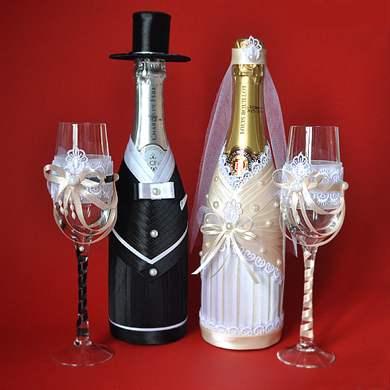 Оформление свадебных бокалов и бутылок шампанского. Обсуждение на