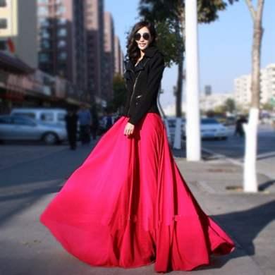 Длинная красная шифоновая юбка