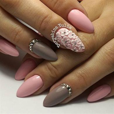 Кремовый дизайн ногтей