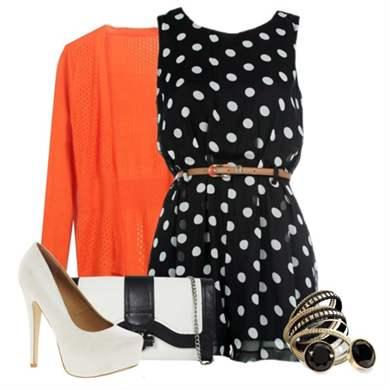 Платье черное в горошек с чем носить