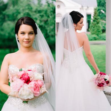 Свадебные прически фата в середине