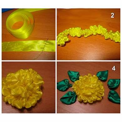 Как сделать цветок из ленточки своими руками