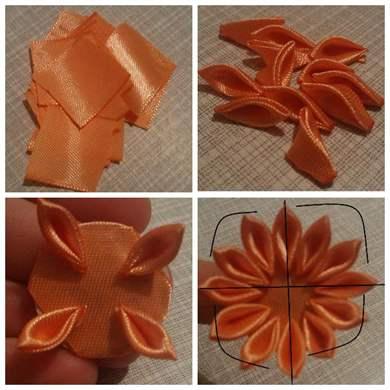 Как своими руками сделать цветочки из ленты 4