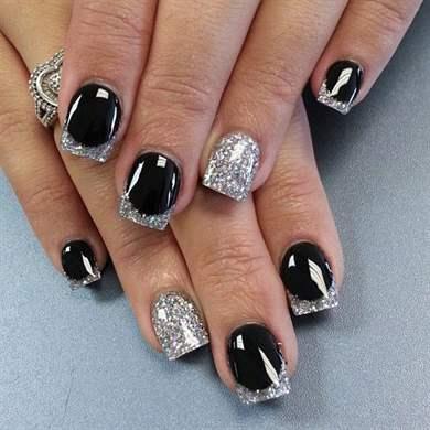 Френч на ногтях золото и серебро 63