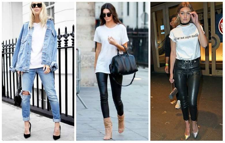 белая футболка с джинсами фото