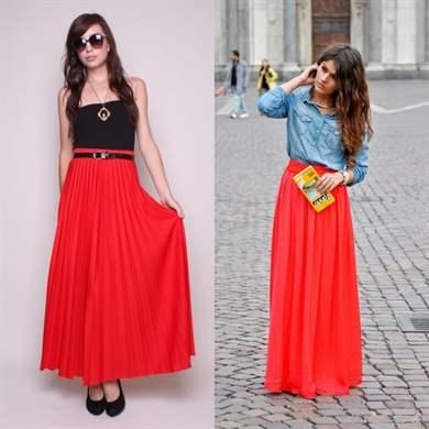 Как носить красную плиссированную юбку